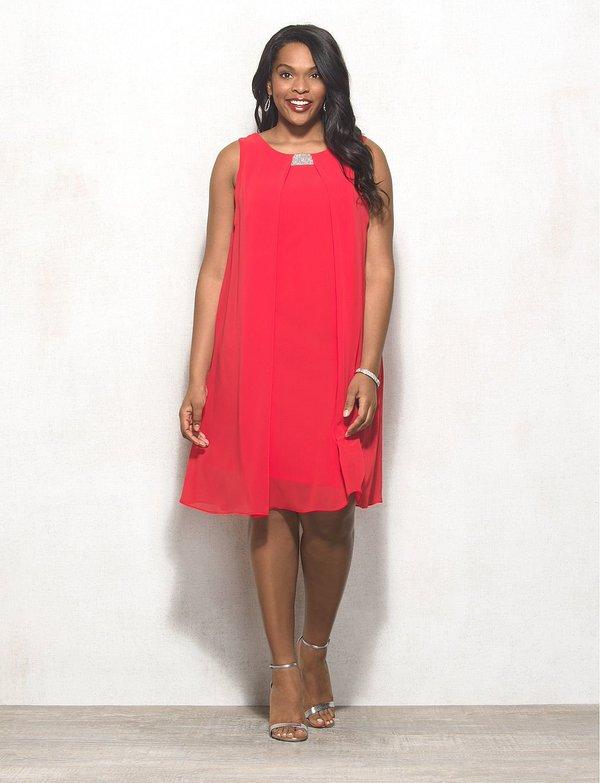 61198cb569b Coral Embellished Chiffon Dress