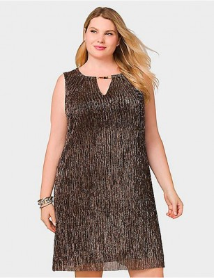 BEYOND BY ASHLEY GRAHAM METALLIC PLEATED DRESS – SIZE 18