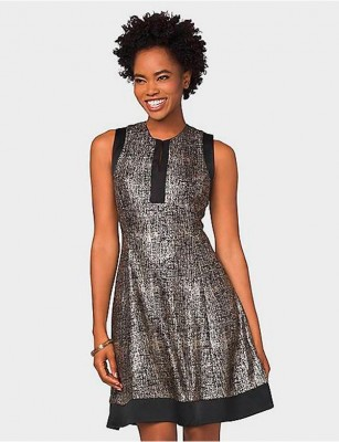 DRESSBARN METALLIC FIT-AND-FLARE DRESS – SIZE 12