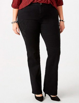 Plus Size Signature Black Embellished Boot Jeans – Size 18